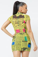 Sheer Newspaper Printed Skirt and Top Set