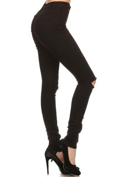 Black Skinny Jeans with Ripped Knee
