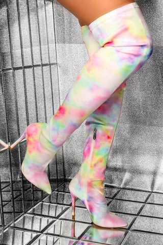 Thigh High Lycra Tie Dye Boot
