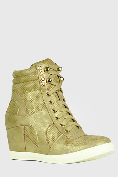 Lace Up Wedge Sneakers