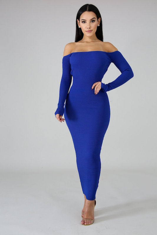 Long Sleeve Open Back Ribbed Maxi Dress