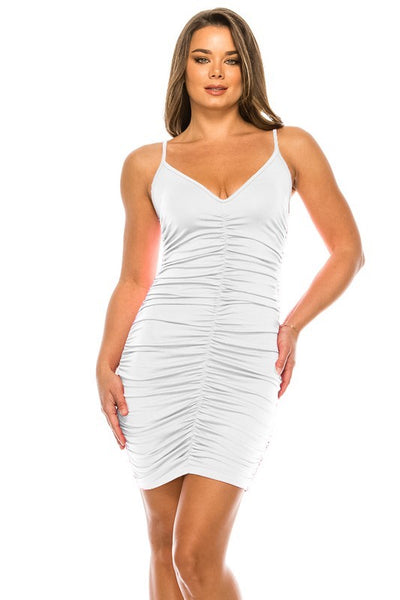 Spaghetti Strap Ruched Mini Dress