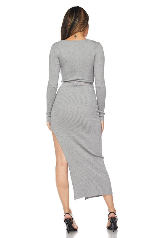 Long Sleeve Side Slit Dress with Belt