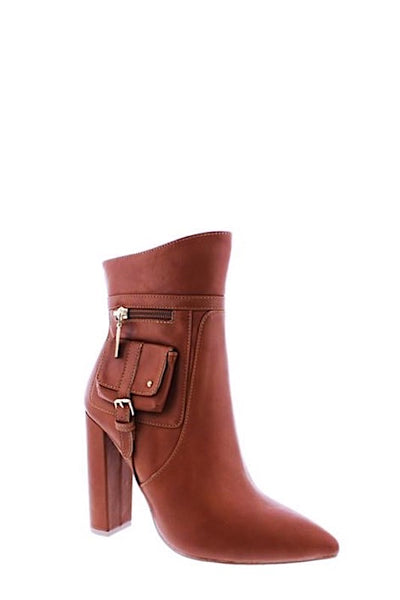 Chunky Heel Pointy Bootie with Side Pouch