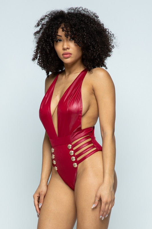 Gold Button PU Swimsuit