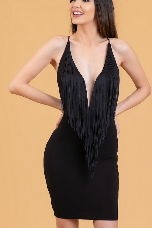 Fringe Low Cut Bodycon Dress
