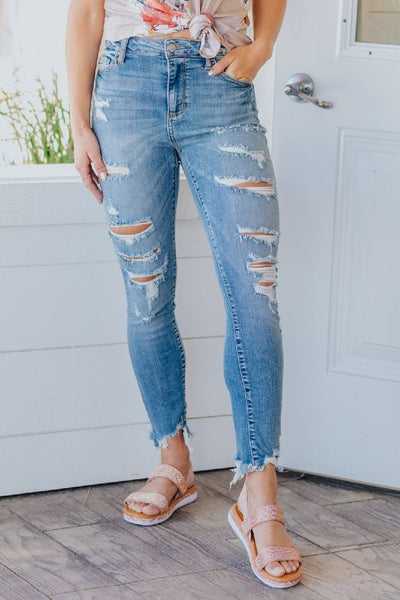 High Rise Distressed Crop Skinny Jeans with Frayed Hem