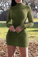 Mock Neck Mini Dress with Thumb Holes
