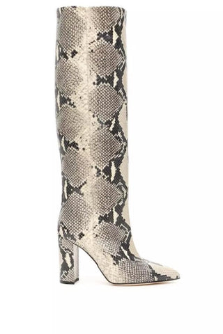 Snake Print OTK Pointed Toe Boot