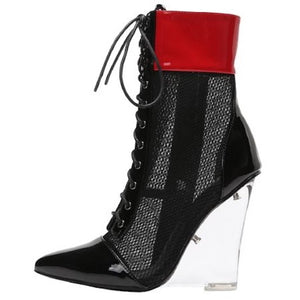 Netted Lace up Heel