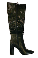 Snake Print Over The Knee Pointed Toe Boot