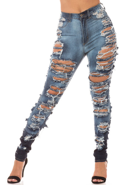 Super High Rise Distressed Skinny Jeans with Cut Outs