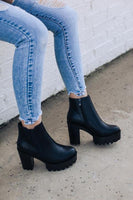 Black Chunky Heel Ankle Bootie