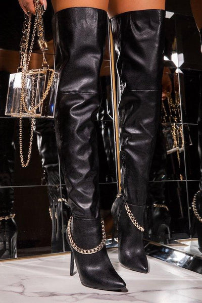 Thigh High Tall Thin Heel Boots with Chain