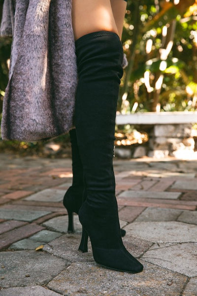 Thigh High Square Toe Boots