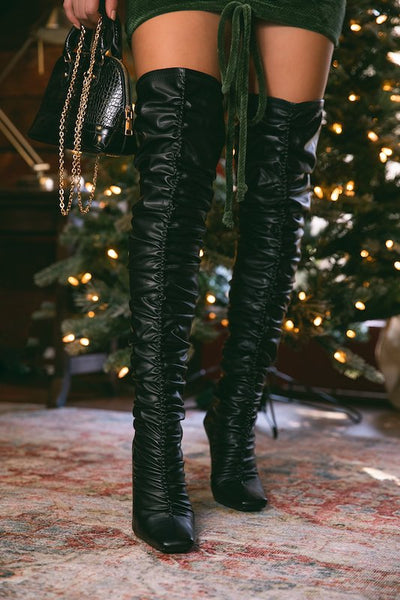 Thigh High Ruched Boot with Heel