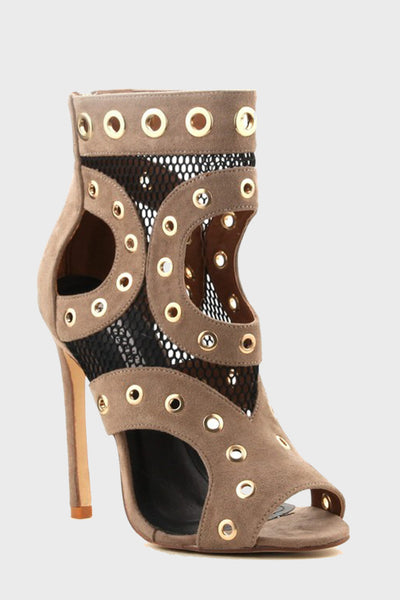 Grommet Mesh Open Toe Cut Out Bootie Heels