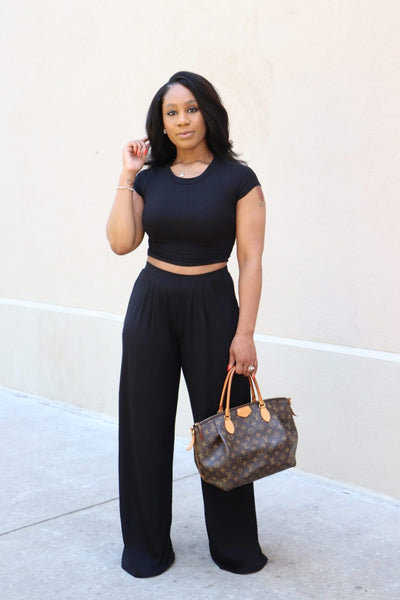 Cropped Top & High Waisted Wide Legged Pant Set