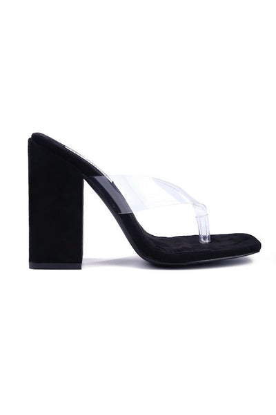 Thick Heel Sandal with Clear Strap