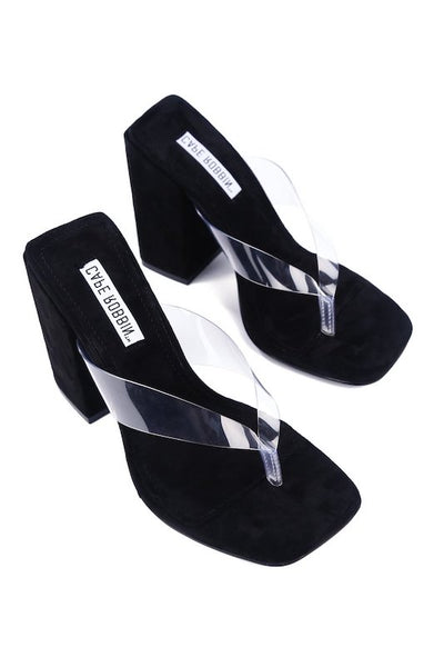 Thick Heel Sandal with Clear Strap h