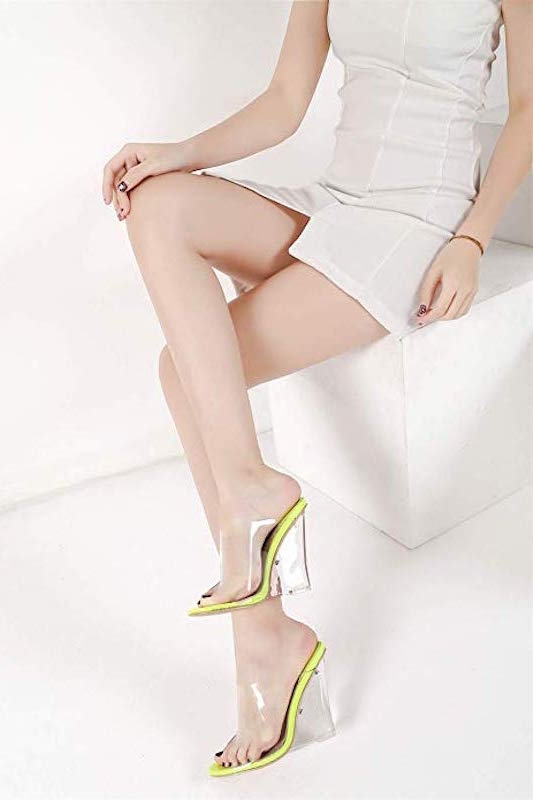Clear One Band Neon Heel