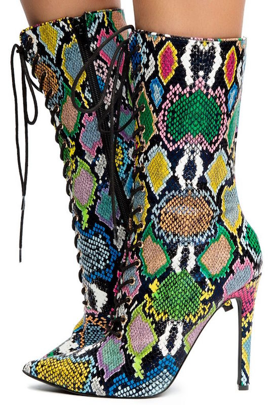 Multi Colored Snakeskin Boot