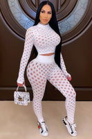 Long Sleeve Punched Mesh Top & Leggings Set