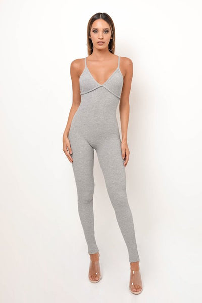Ribbed Cross Back Jumpsuit