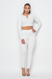 Long Sleeve Crop Top & Ribbed Legging Set
