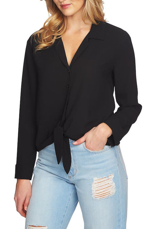 Long Sleeve Front Tie Blouse
