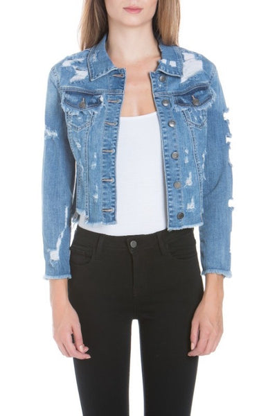 Mid Length Distressed Denim Jacket with Uneven Fray Edge
