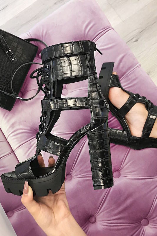 Crocodile Lace Up Open Toe Bootie