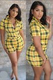 Plaid Collar Bodysuit with Short Set