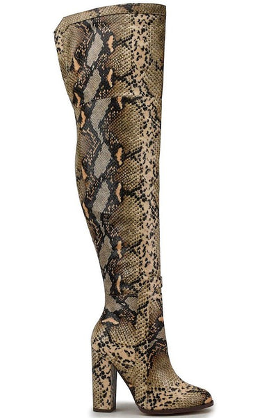 Thigh High Chunky Heel Snake Boot