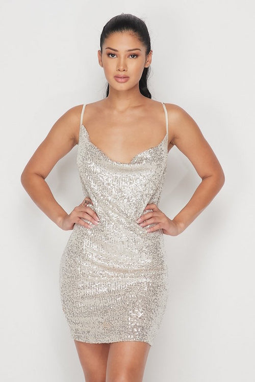 Spaghetti Strap Sequin Mini Dress