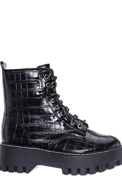 Platform Crocodile Combat Boot