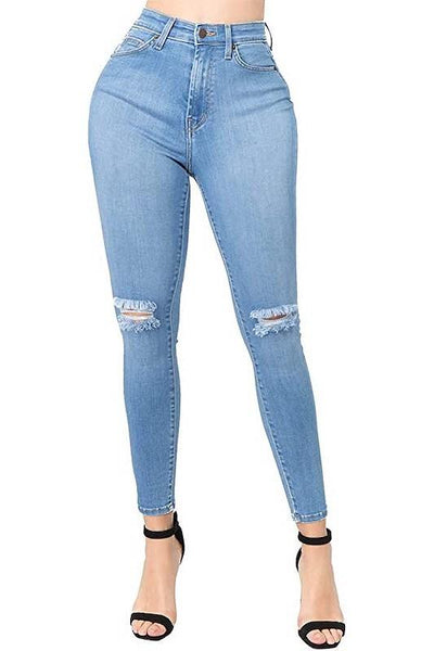 High Waist Knee Destroyed Skinny Jean
