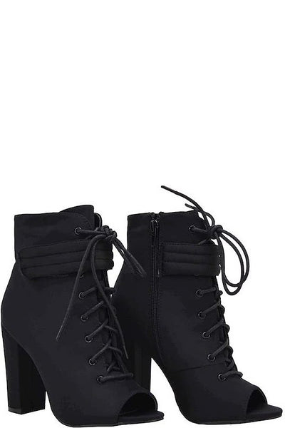 Lace Up Chunky Heel Open Toe Bootie