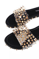 Clear Open Flat Mule Slide Studded Sandals