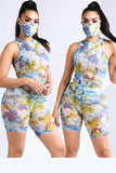 Printed Painting Inspired Mesh Bodysuit & Short Set with Mask