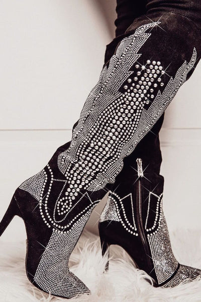Rhinestone Boot with Heel