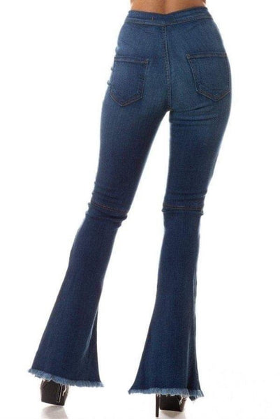 HIgh Rise Flare Jean with Frayed Leg Opening