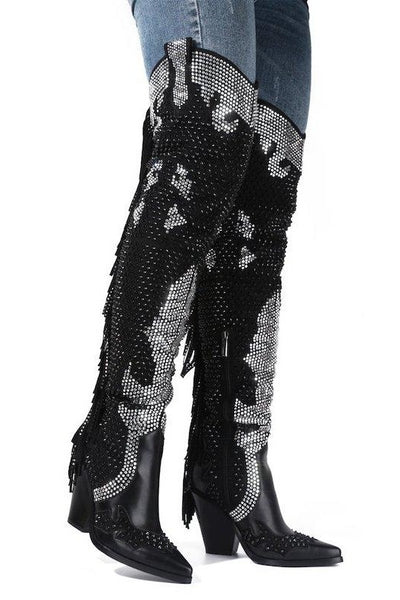 Pointed Toe OTK Fringe Cowboy Boots with Rhinestones