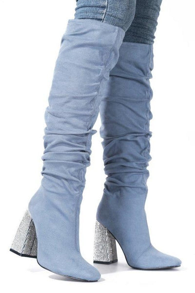 OTK Gathered Boot with Thick Rhinestone Heel