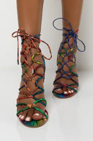 Strappy Wrap Up Snake Print Heel