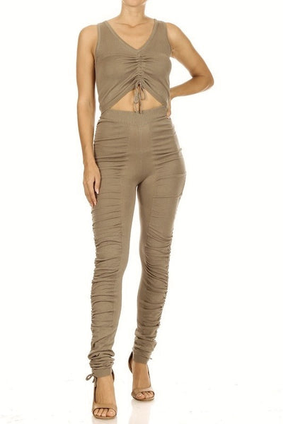 Sleeveless V Neck Crop Top & Ruched Pant Set