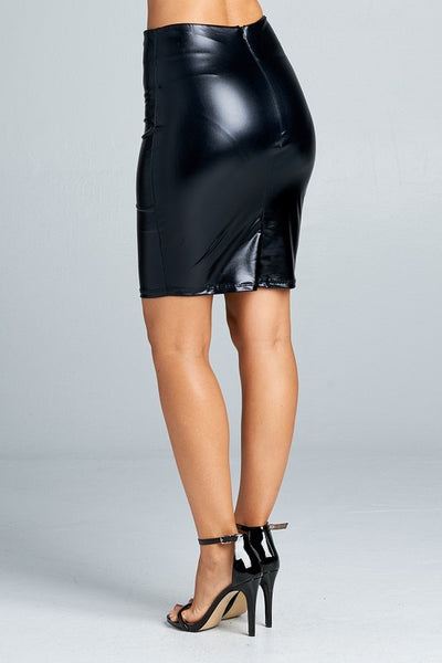 Metallic Faux Leather Mini Skirt