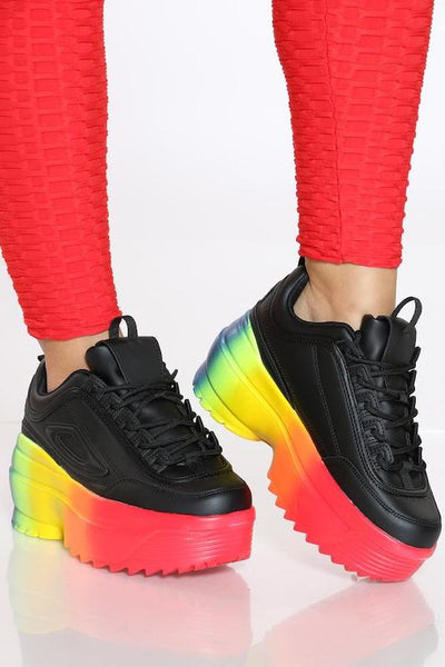 Lace Up Chunky Rainbow Sole Sneaker