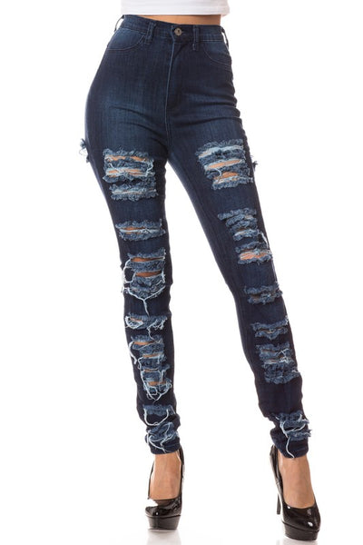 Dark Destroyed Front High Rise Skinny Jean