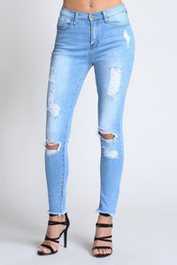 Destroyed Skinny Jean with Fringe Cuff